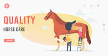 Quality Horse Care Landing Page Template. Stableman Characters Care Of Horse Cleaning Skin And Hooves With Brush