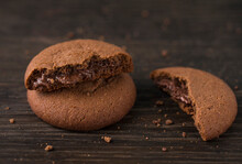 Chocolate Cookies With Chocolate Filling