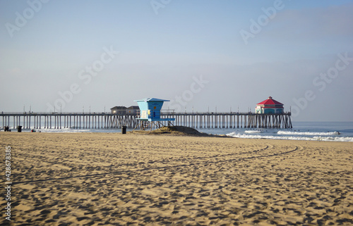 Huntington Beach pier in the morning #428678385