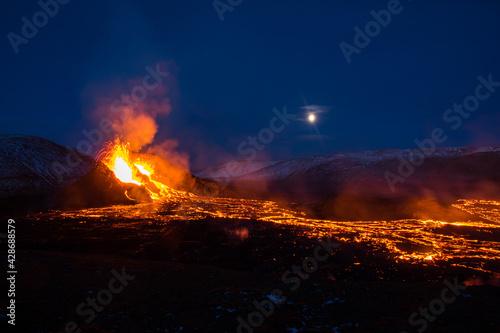 Fotografie, Tablou The eruption site of Geldingadalir in Fagradalsfjall mountain on Reykjanes in Ic