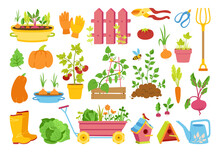 Garden Flat Cartoon Set. Vegetables Growing Soil In Pot, Rustic Fence. Rubber Boots, Pitchfork And Gloves, Secateurs. Garden Cart, Birdhouse And Watering Can. Hand Drawn Isolated Vector Illustration