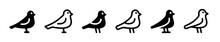Set Of Black Bird, Dove, Pigeon Icon Vector Illustration.