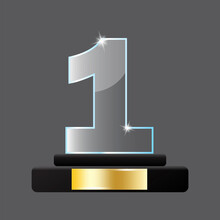 Crystal One Pedestal. First Place Trophy. Winner Award. Win Prize. Round Podium. Vector Illustration. Stock Image. EPS 10.