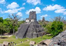 Ancient Tikal Pyramids In Guatemala.