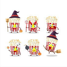 Halloween Expression Emoticons With Cartoon Character Of Pop Corn