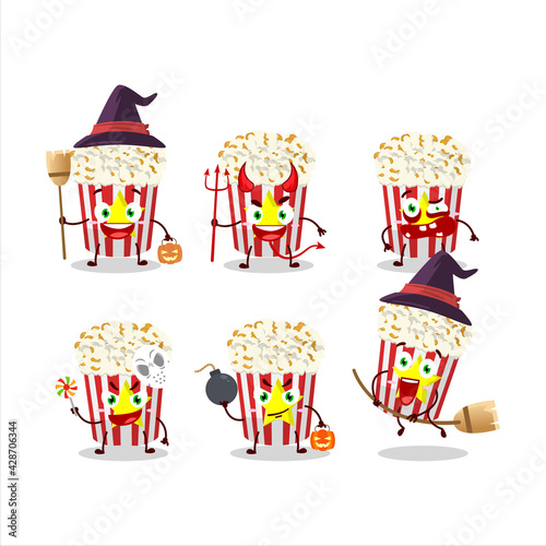 Obraz na plátne Halloween expression emoticons with cartoon character of pop corn