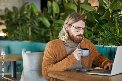 Portrait of contemporary bearded businessman using laptop and enjoying coffee while working at cafe table in green eco friendly interior decorated with plants, copy space