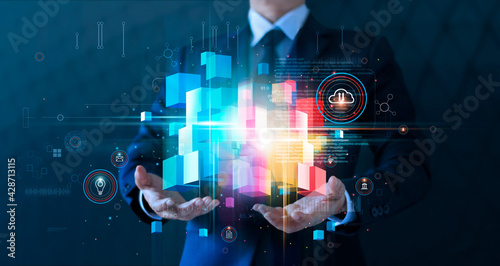 Businessman holding block chain network and cloud computing online connecting to big data innovation of technology. Analytics and intelligence data storage develop smart decision in global business - fototapety na wymiar