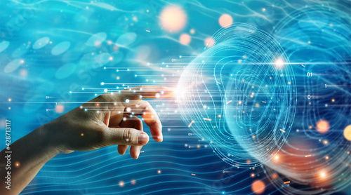 Hand of businessman touching global network connection information data exchanges, Abstract futuristic, big data, Data sorting flow process, Science and innovation of technology - fototapety na wymiar