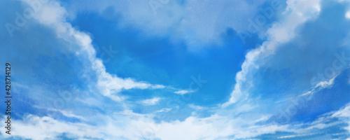 初夏から夏にかけての空をイメージした風景イラスト - fototapety na wymiar