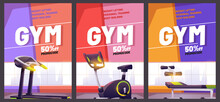 Gym Cartoon Poster With Treadmill. Promotional Flyer With Promocode For Weight Lifting, Body Building Or Personal Training. Special Offer For Sports Activity And Healthy Lifestyle, Vector Illustration