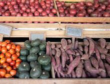 Fresh Pumpkins Purple Sweet Potato .tomato. And Passion Fruitin In The Market.