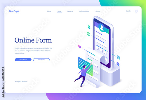 Online form banner. Web application for registration account, digital survey. Vector landing page with isometric illustration of person fills profile information in mobile app on smartphone - fototapety na wymiar