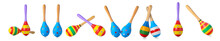 Different Maracas On White Background