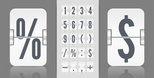Flip Numbers And Symbols Font For Information Web Page Or Time Counter. White Analog Countdown Number Font. Vintage Symbols For Time Meter Vector Template.