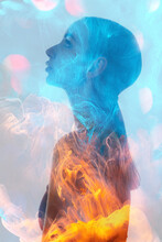 Double Exposure Silhouette. Spiritual Aura. Esoteric Enlightenment. Contrast Blue Orange Mist In Profile Portrait Of Curious Relaxed Woman Looking Up On Holographic Pink Bokeh Light Background.