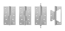 Metal Door Hinges, Silver Construction Hardware Isolated On White Background. Vector Realistic Set Of Iron Tools For Joint Gates And Windows. 3d Steel Hinges For House And Furniture