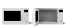 Modern Microwave Oven With Open And Closed Door. Kitchen Electric Appliance For Cooking And Defrost Food. Vector Realistic 3d Empty White Microwave Oven With Display, Buttons And Glass Plate