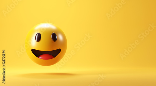 Fototapeta A smiling face emoji with smiling eyes on yellow background - emoticon showing a true sense of happiness, copy space, 3d render. obraz