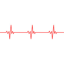 Heart Pulse With One Line. Cardiogram Horizontal Seamless Pattern. Vector Illustration.