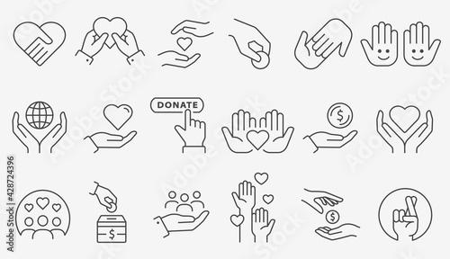 Obraz na plátně Charity icon set