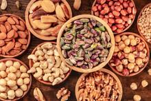 Nuts Variety, Overhead Flat Lay Shot Of Many Bowls