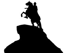 Ancient Equestrian Monument In St. Petersburg. Isolated Silhouette On White Background