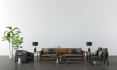 Modern interior mock up furniture and decoration of minimal living room design and white pattern wall texture background 3d rendering
