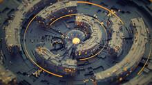 Rotating Circle Elements 3D Rendering Illustration