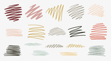 Set Of Hand Drawn Textured Zig-zag Lined Shapes
