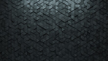 Polished, Futuristic Wall Background With Tiles. 3D, Tile Wallpaper With Triangular, Concrete Blocks. 3D Render