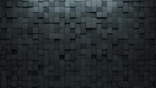 3D, Concrete Wall Background With Tiles. Futuristic, Tile Wallpaper With Polished, Square Blocks. 3D Render