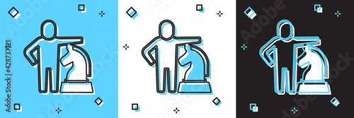 Stampa su Tela Set Chess icon isolated on blue and white, black background