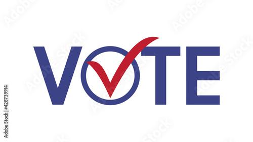 Fotografie, Obraz Vote word with checkmark symbols, Check mark icon, Political template elections