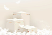 3D Step Podium Mockup With Feathers On Beige Color Background For Cosmetic And Product Display, Vector Illustration