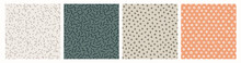 Set Of Hand Drawn Textured Seamless Patterns. Simple Textures For Background. Vector Illustration.