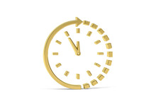 Golden 3d Clock Icon Isolated On White Background - 3D Render
