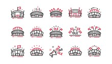 Sports Stadium Line Icons. Ole Chant, Arena Football, Championship Architecture. Arena Stadium, Sports Competition, Event Flag Icons. Sport Complex Linear Set. Linear Set. Quality Line Set. Vector