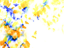 Watercolor Print. Authentic Brushed Art. Watercolor Pattern. Yellow Tie Dye Print. Orange Handmade Dirty Art. Artistic Dirty Art. Aquarelle Texture. Brushed Graffiti.Tie Dye Shirt. Blue