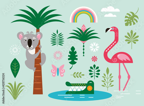 Set of triopical exotic illustrations, design elements Fototapete