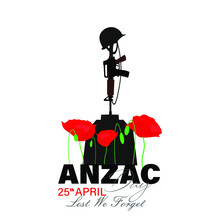Anzac Day. Poppy Flower.. Lest We Forget Lettering. Vector Illustration.