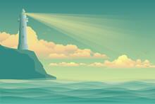 Seascape Vector Illustration. Lighthouse