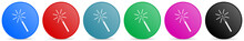 Magic Wand Vector Icons, Set Of Circle Gradient Buttons In 6 Colors Options For Webdesign And Mobile Applications