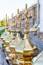 Golden Domes With Crosses Before Installation