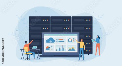 Fotografering business technology cloud computing service concept and datacenter storage serve
