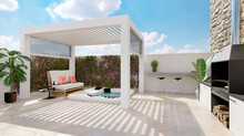 3D Render Of White Outdoor Pergola On Urban Patio With Jacuzzi And Barbecue