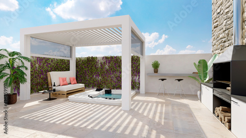 Obraz 3D render of white outdoor pergola on urban patio with jacuzzi and barbecue - fototapety do salonu