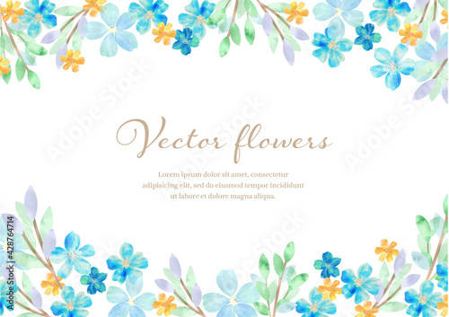Fototapeta 青い 爽やかな お花の水彩フレーム obraz