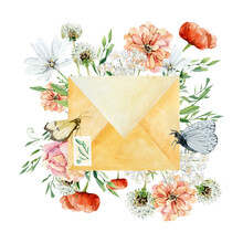 Watercolor Envelope With Wild Flowers And Wild Greenery Plants. Peony, Buttercup, Violets And Carnation, Dandelion. Bright Wildflowers Romantic Floral Love Message.
