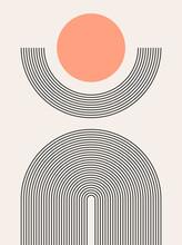 Abstract Modern Bohemian Contemporary Geometric Minimal Pattern Art Style. Wall Line Boho Abstract Shape Arch